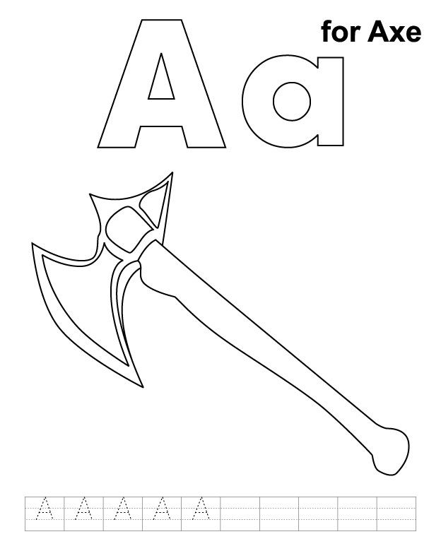 A For Axe Coloring Page With Handwriting Practice Apple Coloring