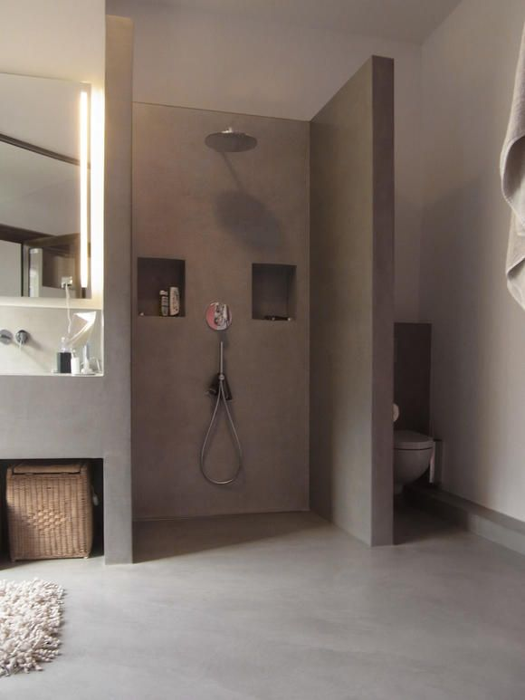 offenes Badezimmer Cement, Room ideas and Interiors