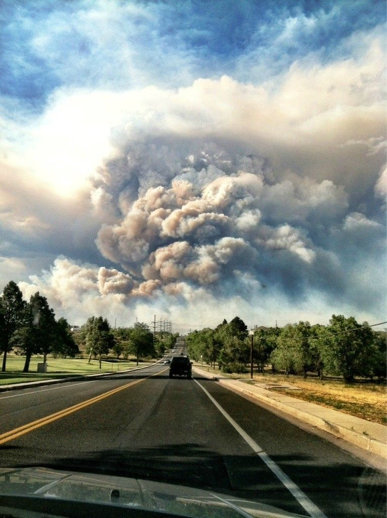 Colorado Springs, CO is on fire  65mph winds blew it into