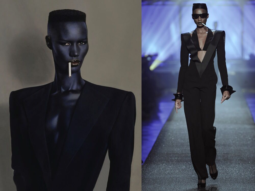 Jackets/blazers with sharp lines. Retro high fashion. Grace Jones inspired