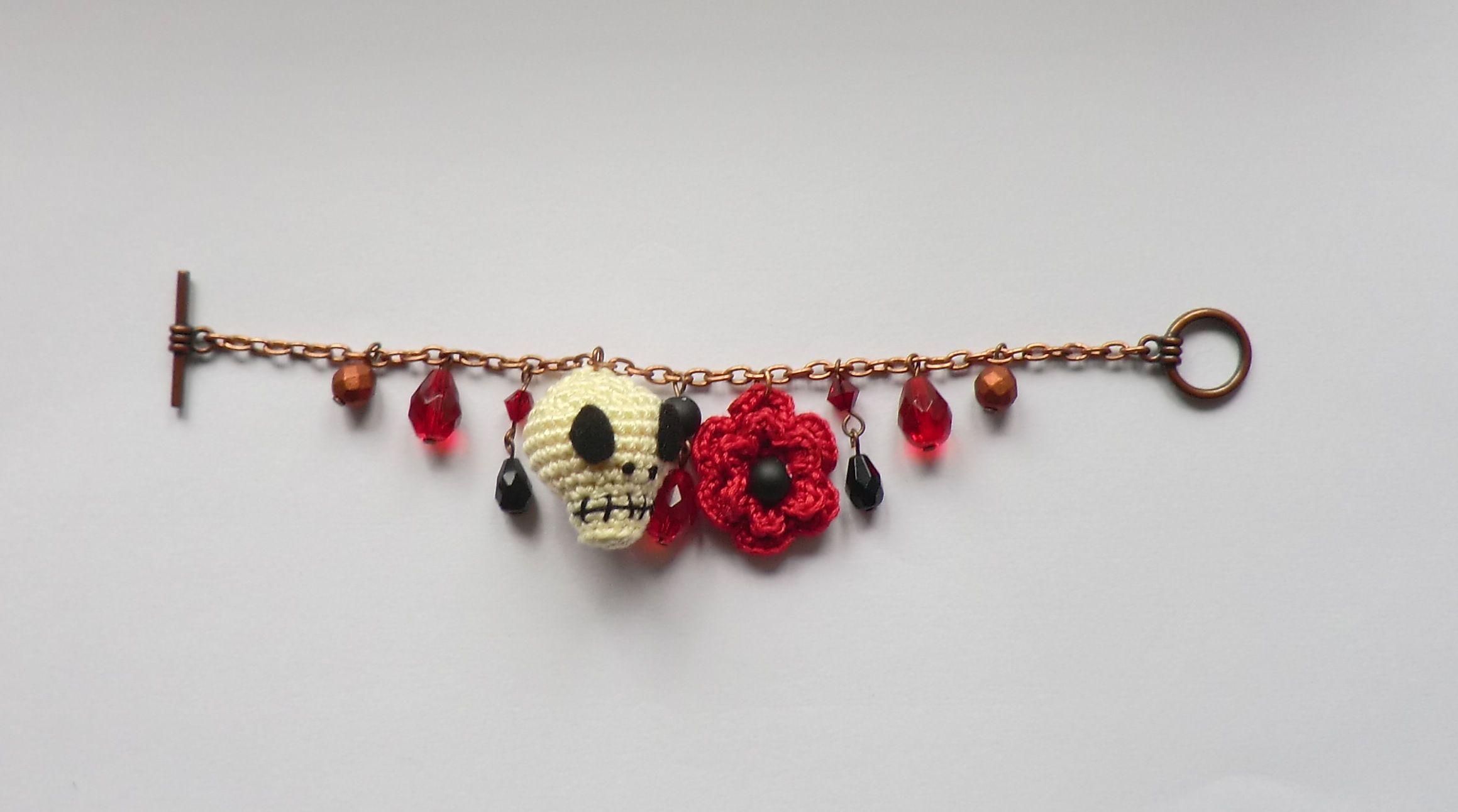 Free crochet pattern: Skull and flower bracelet by Liz Ward, perfect ...