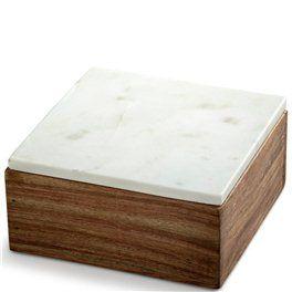 Nordstjerne Træ boks med hvid marmor låg