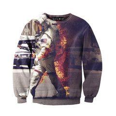 Astronaut on Fire Unisex Sweatshirt