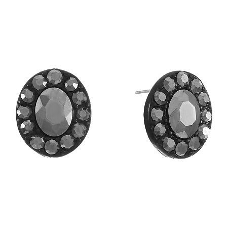 Liz Claiborne Gray 16.5mm Oval Stud Earrings, Color: Black - JCPenney