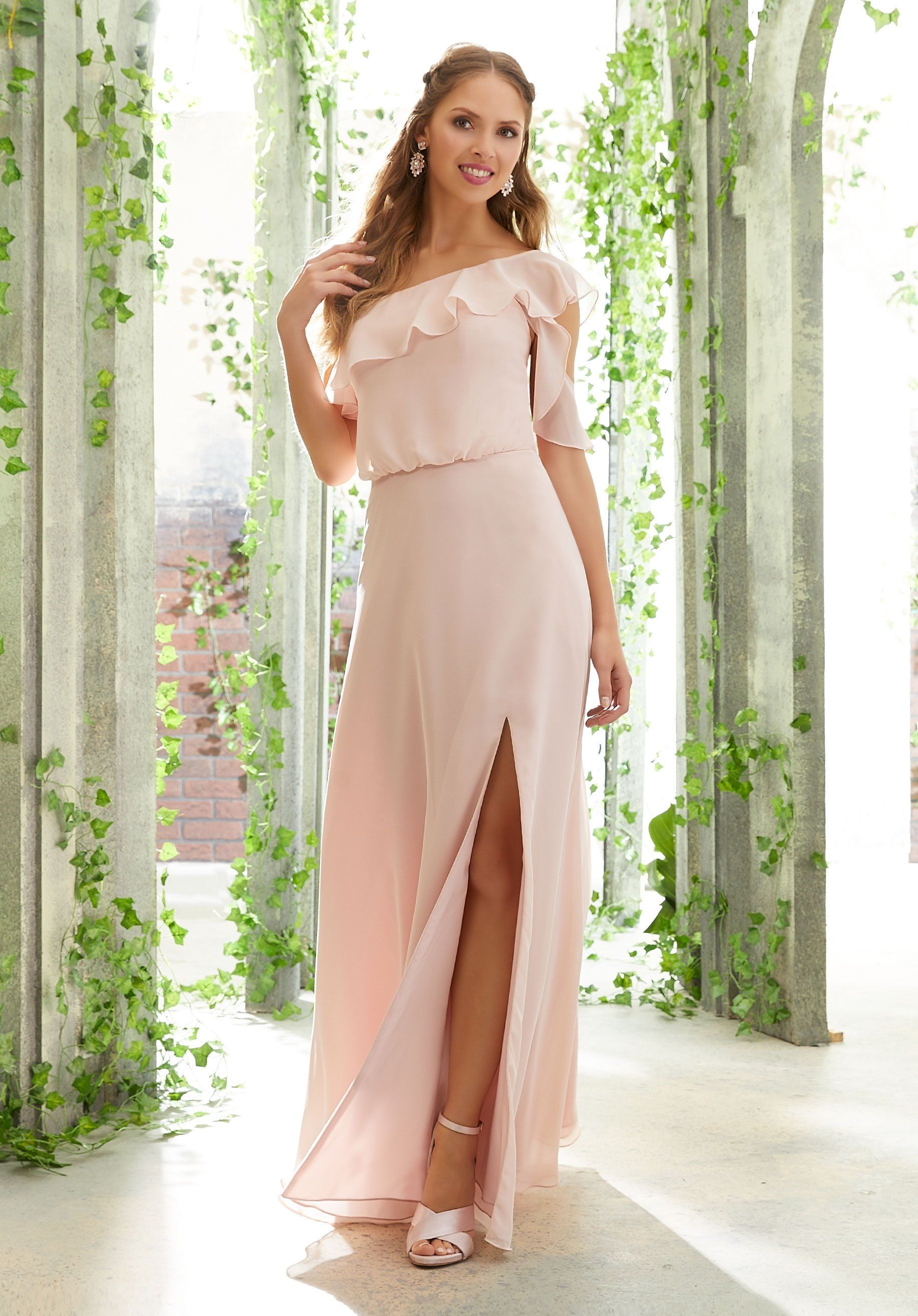515407b8f6d Morilee Bridesmaids 21603 One Shoulder Chiffon with Side Slit Bridesma –  Off White