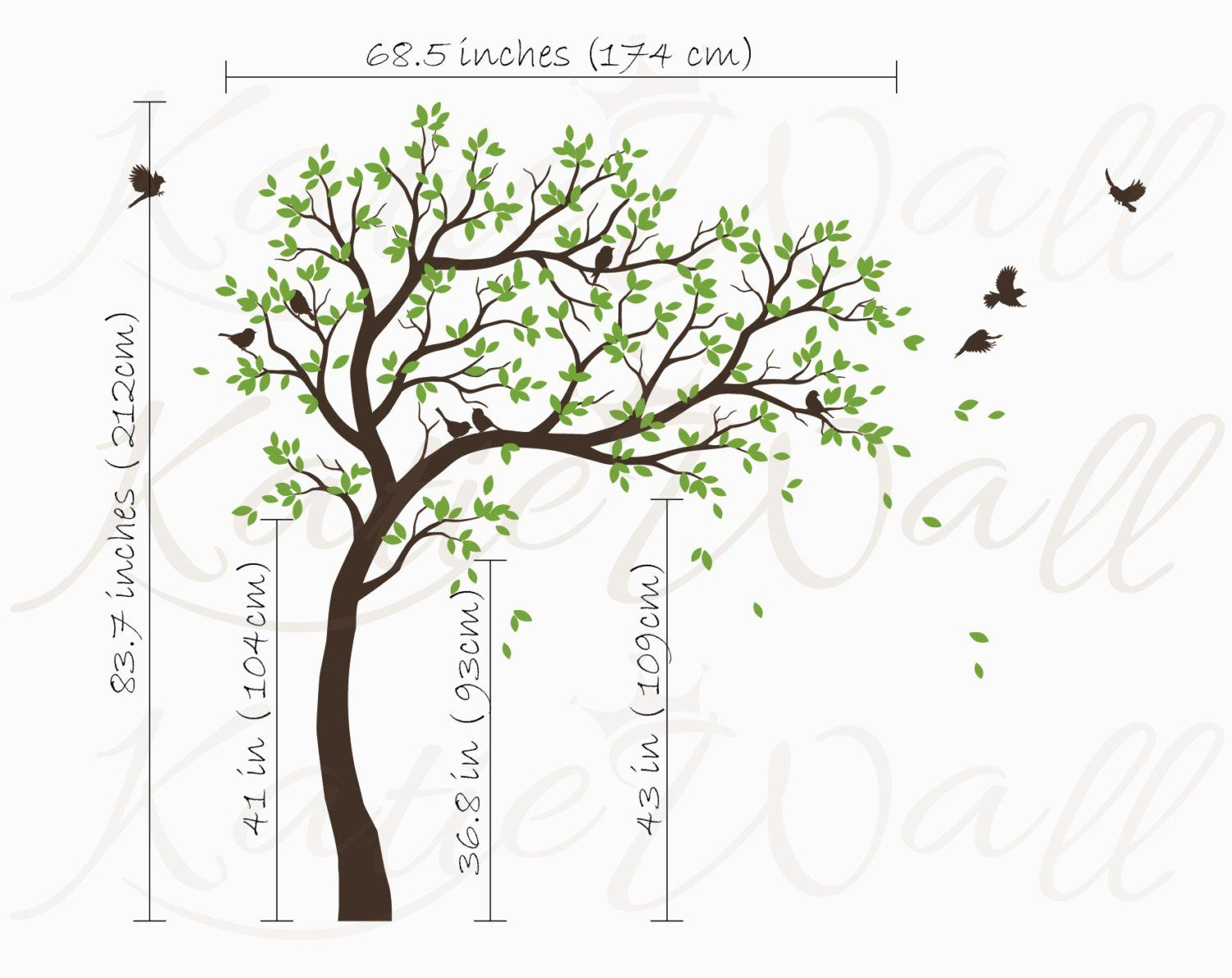 White tree wall decals nursery large wall decal kids room wall art