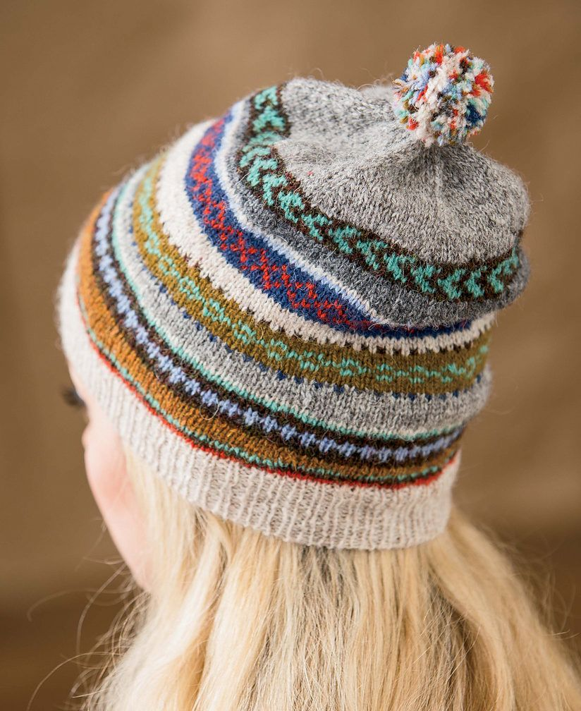 Knitting Pattern for Tilting Fair Isle Hat and Mitts - Bands of ...