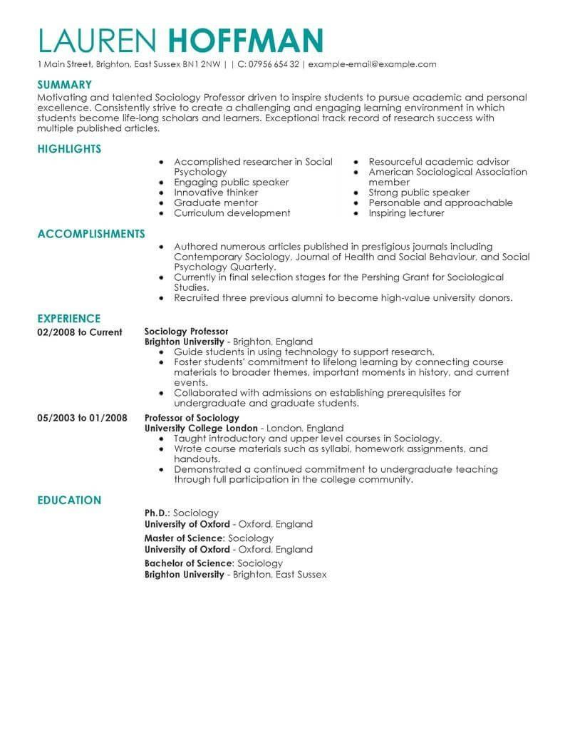 An Effectively Distributed Resume Will Get An Interview New Professor Education Contemporary 4 With Academic Resume