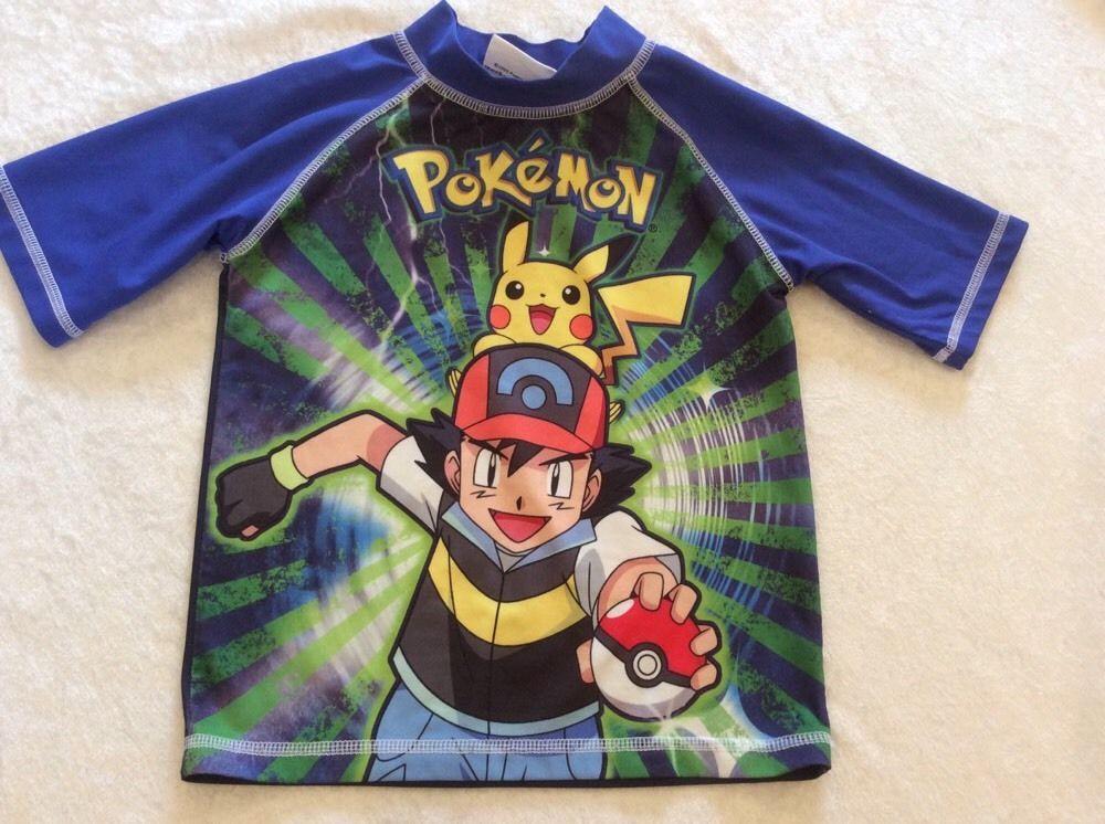 b9272e4aa59ea Pokemon Rashguard Swim Top Boys Xs 4 5 Blue Short Sleeve #pokemon #SwimShirt