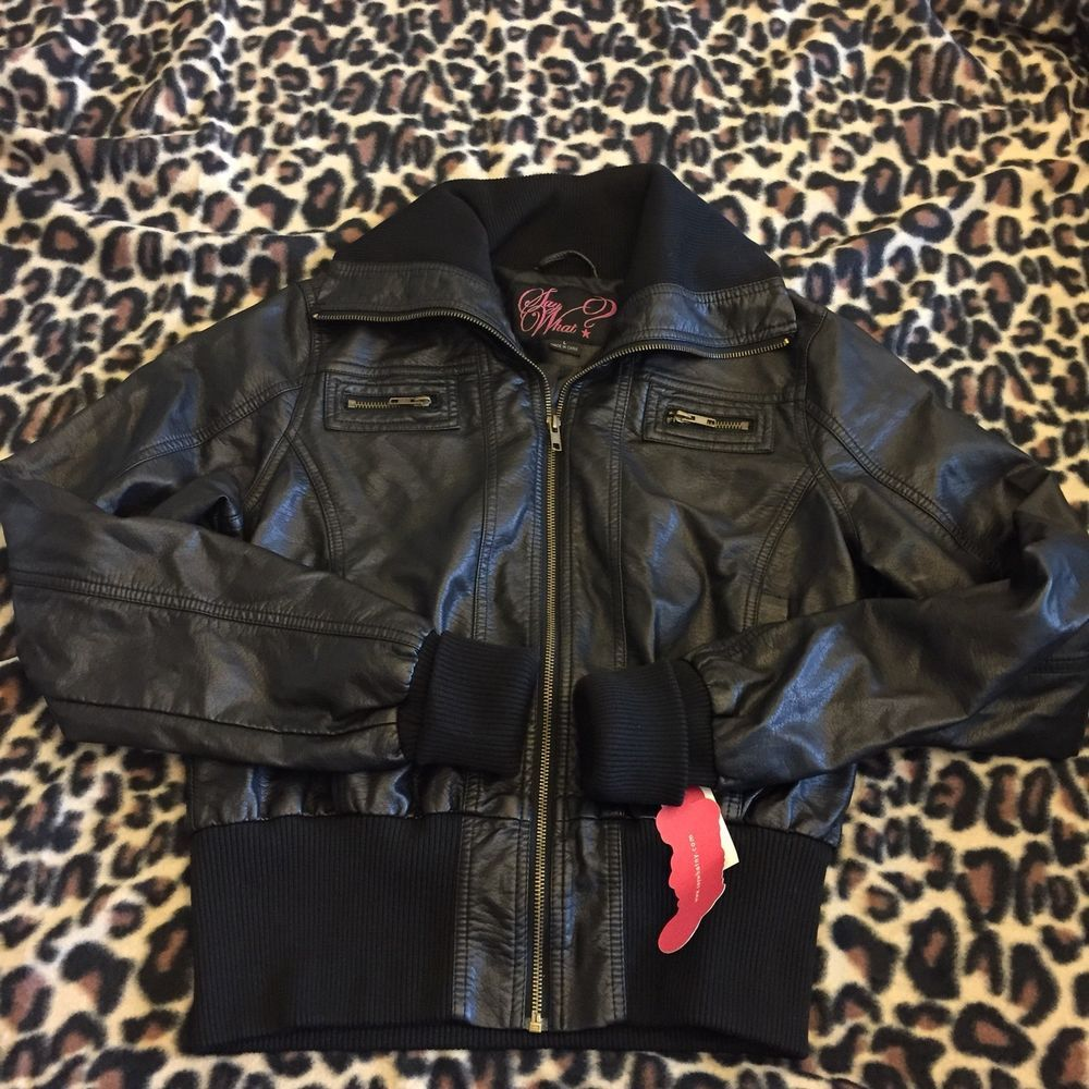 Say What Womens Juniors Size Large Faux Leather Bomber Jacket Black Cropped Bomber B Faux Leather Bomber Jacket Black Bomber Jacket Leather Bomber Jacket [ 1000 x 1000 Pixel ]