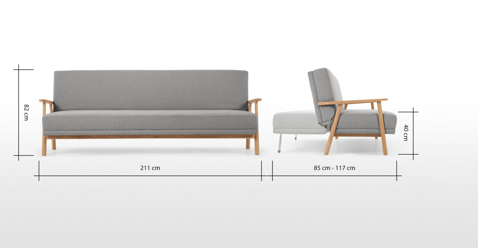 Lars Click Clack Sofa Bed Mountain Grey And Oak Frame In 2020
