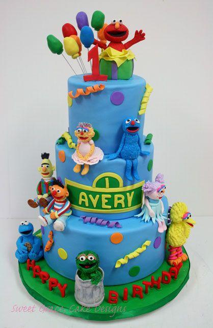 First Birthday Cakes NYC Sesame Street Custom Cakes amazing