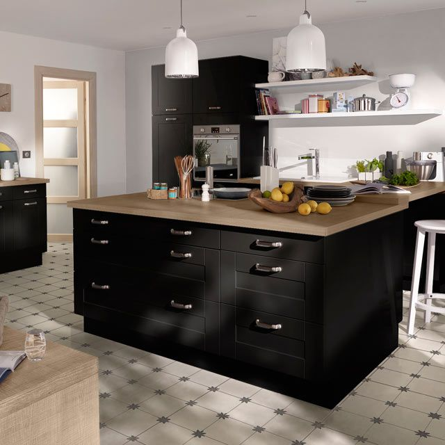 cuisine noire mat castorama 539e kitchen pinterest cuisine noir mat cuisine noir et noir mat. Black Bedroom Furniture Sets. Home Design Ideas