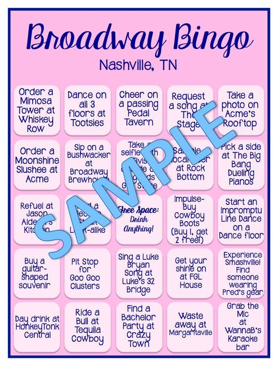 Nashville Bachelorette Broadway Bingo Bar Crawl Game Digital File