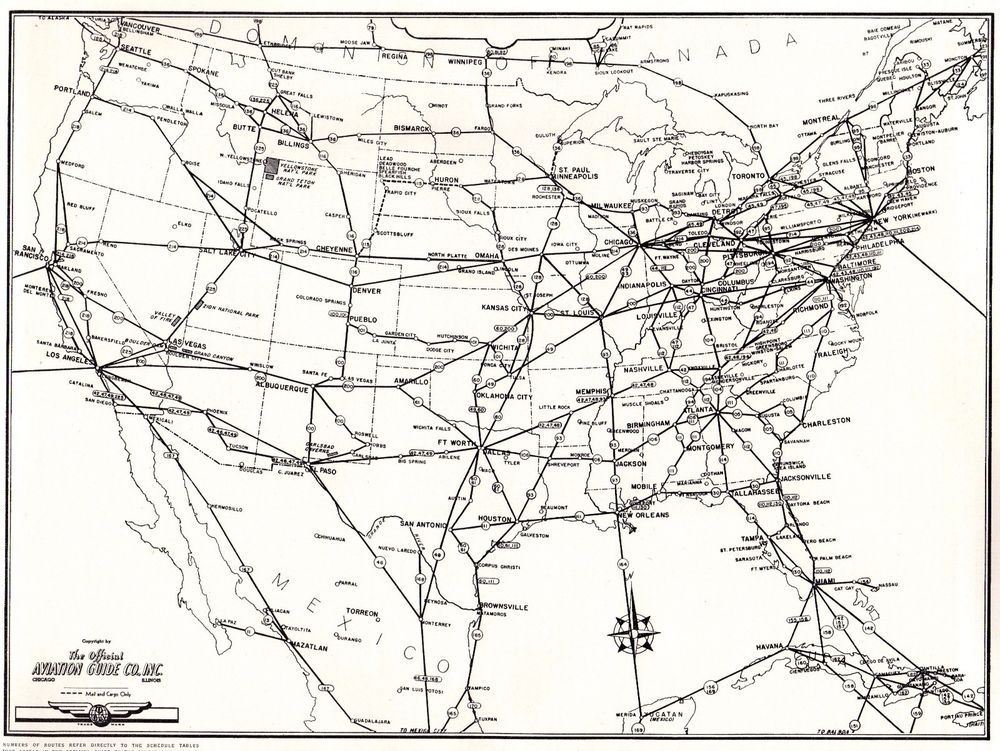 Vintage UNITED STATES Map W Aviation Routes USA Map Gallery - Map of us routes
