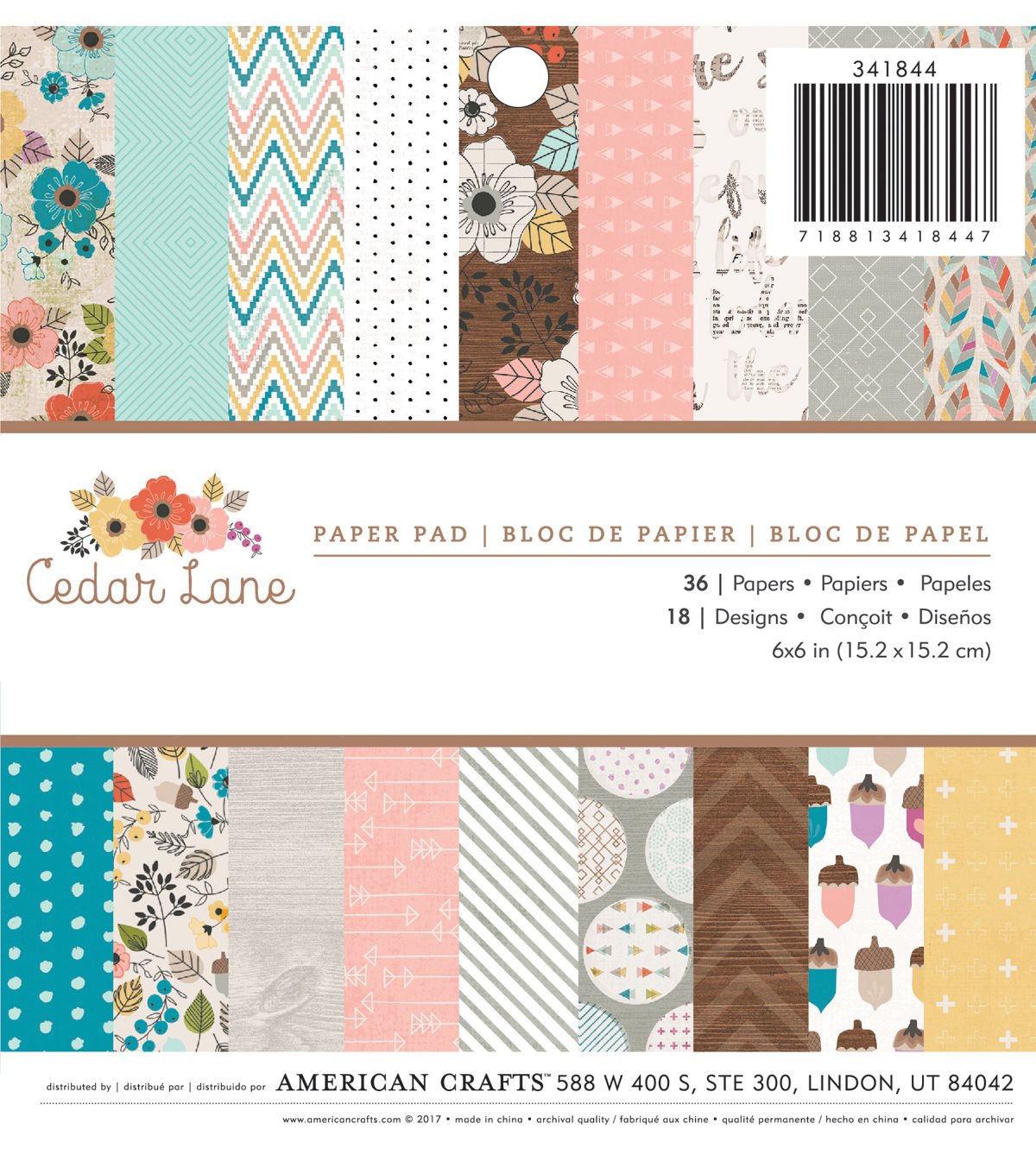 American Crafts 36 Pack 6''x6'' Paper Pad Cedar Lane in