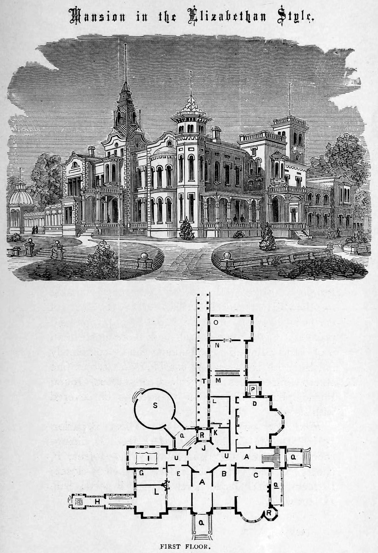 Victorian House. Design for a mansion in Elizabethan style Castle Floor  Plan, Ted Mosby, Floor Plan