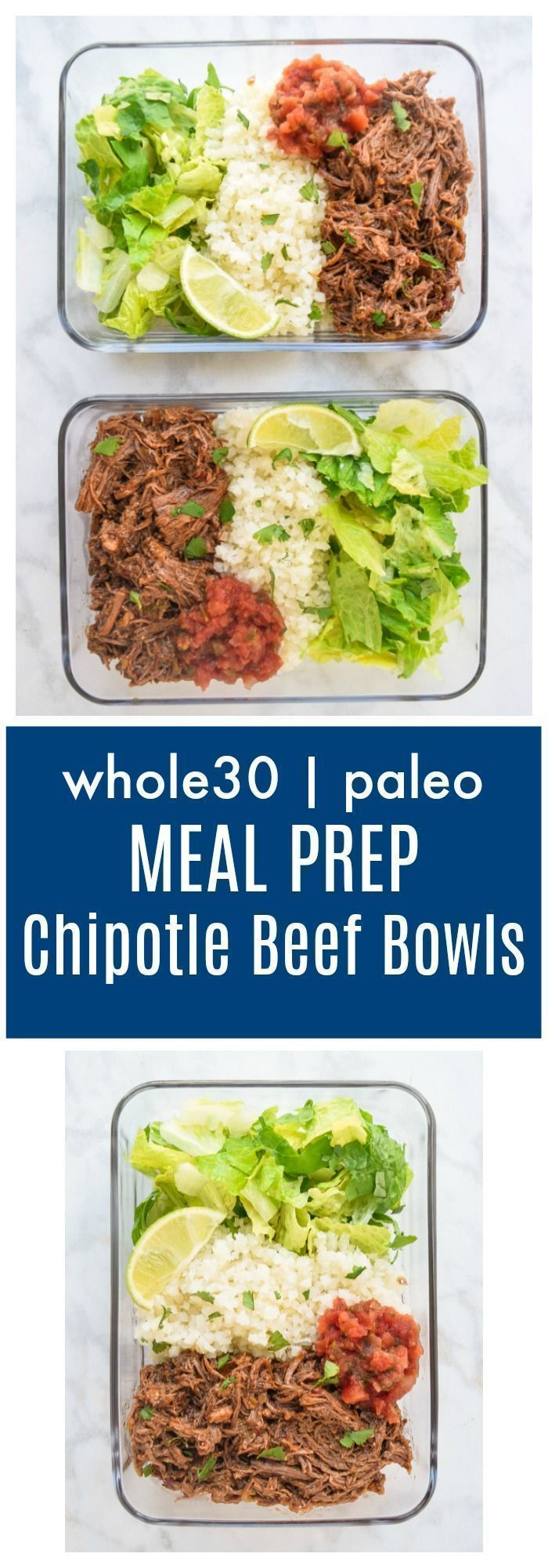 Prep Chipotle Beef Bowls (Whole30 Paleo) - lunch has never been tastier with these meal prep chipotle beef bowls!  Just like your favorite Mexican takeout and Whole30 complaint! |