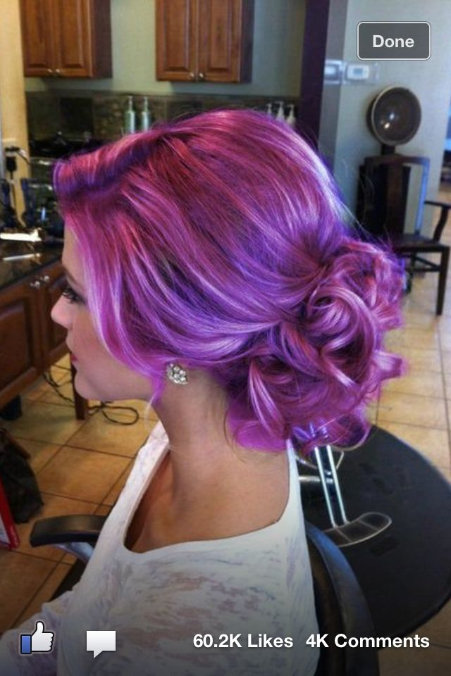 Messy updo great purple colour