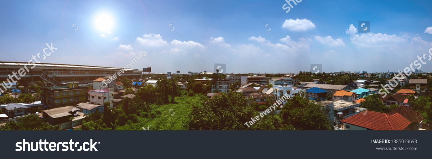 Thailand Bangkok On 24 U002f04 U002f2019 Panorama City Scape House Afternoon Sunshine Panorama City Blue Sky Background Business Cards Photography