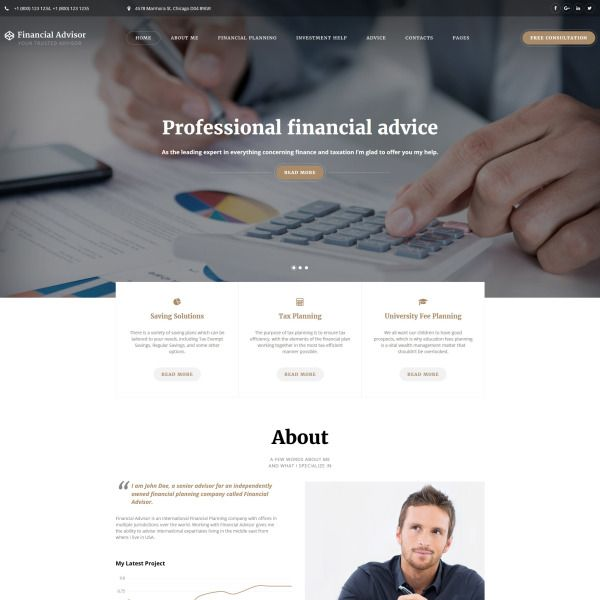 Financial Advisor Multipage Website Template is part of Business website templates, Website template, Business website, Website template design, Corporate website design, Financial - Use this responsive Financial Advisor HTML5 template to add a professional vibe to the website of your financial company