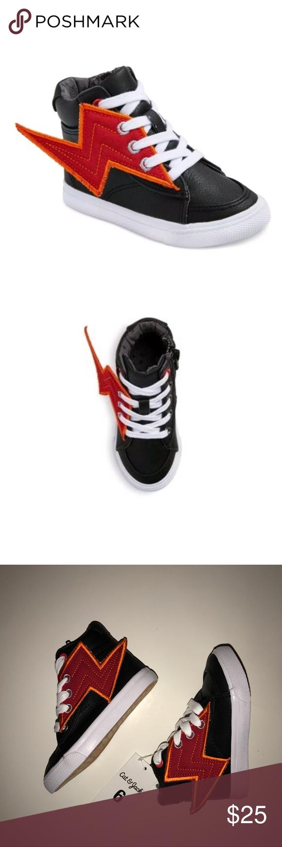 Cat /& Jack ODIS Boys Fashion Sneakers Lightning Bolts 6