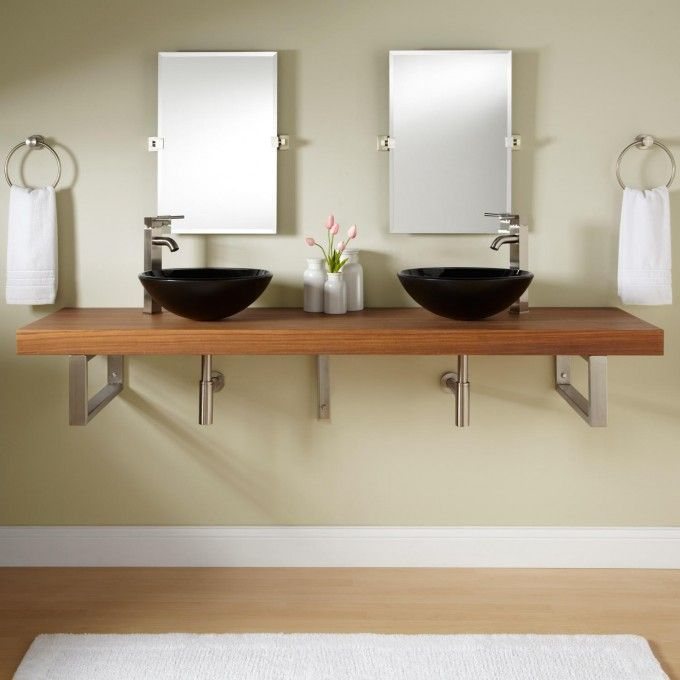 73 Teak Wall Mount Vessel Sink Vanity Rectangular Brackets