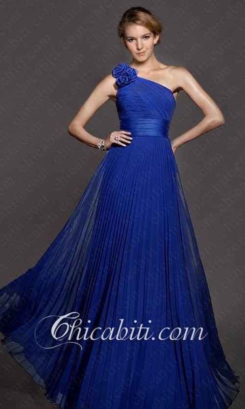 info for cae13 d01c5 Chiffon Lungo Abito Da Cerimonia Blu Una Spalla Fiore | Moda ...