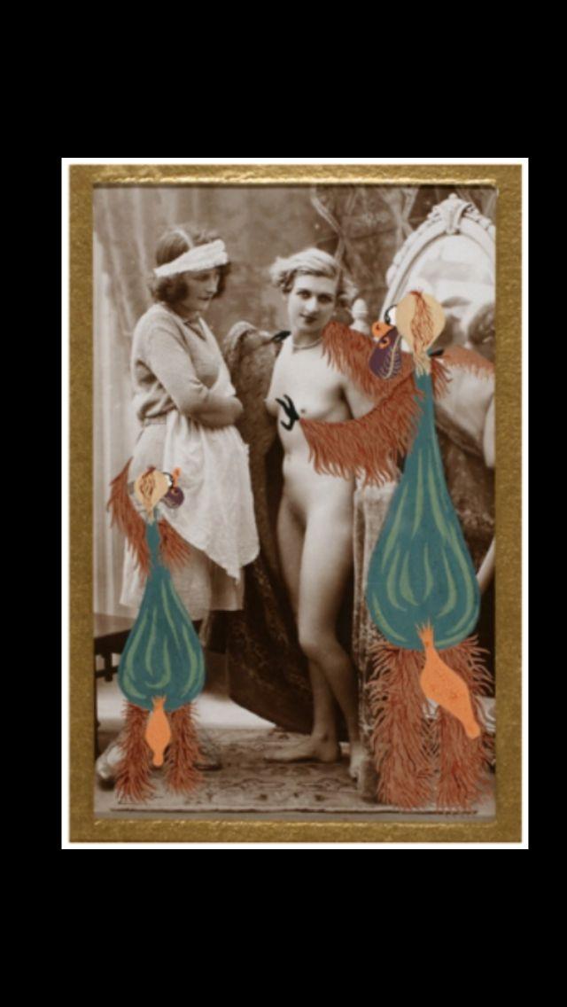 """Georges Hugnet - """" L'Ourgouilloutte et la Vivote """" - No. 9 de la Série """"La Vie Amoureuse des Spumifères"""", 1947/48 - Gouache on Vintage (c. 1920) carte postale - 13,7 x 8,6 cm"""