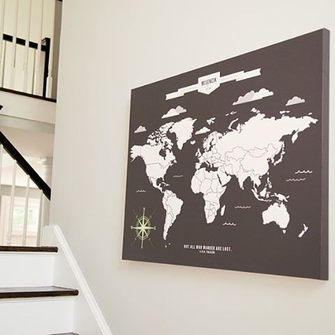 How great is this map as a statement piece for your home decor? We love to mark our travels on it! #map #homedecor #travel #traveller #travelgram #mapart #art #world #worldmap #etsy #graphicdesign #home #decor #statementpiece #76thandnewbury #wanderlust #