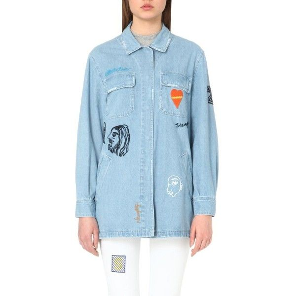 STEVE J & YONI P Embroidered denim jacket (23,345 THB) ❤ liked on Polyvore featuring outerwear, jackets, light blue, light blue jacket, blue jean jacket, light blue jean jacket, blue jackets and embroidered jacket