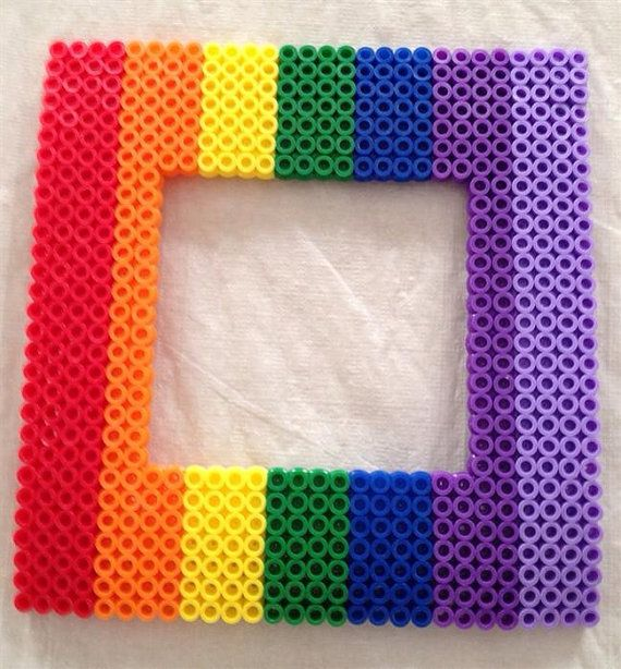 Rainbow Perler Bead Picture Frame  on Etsy, $15 00 | Perler