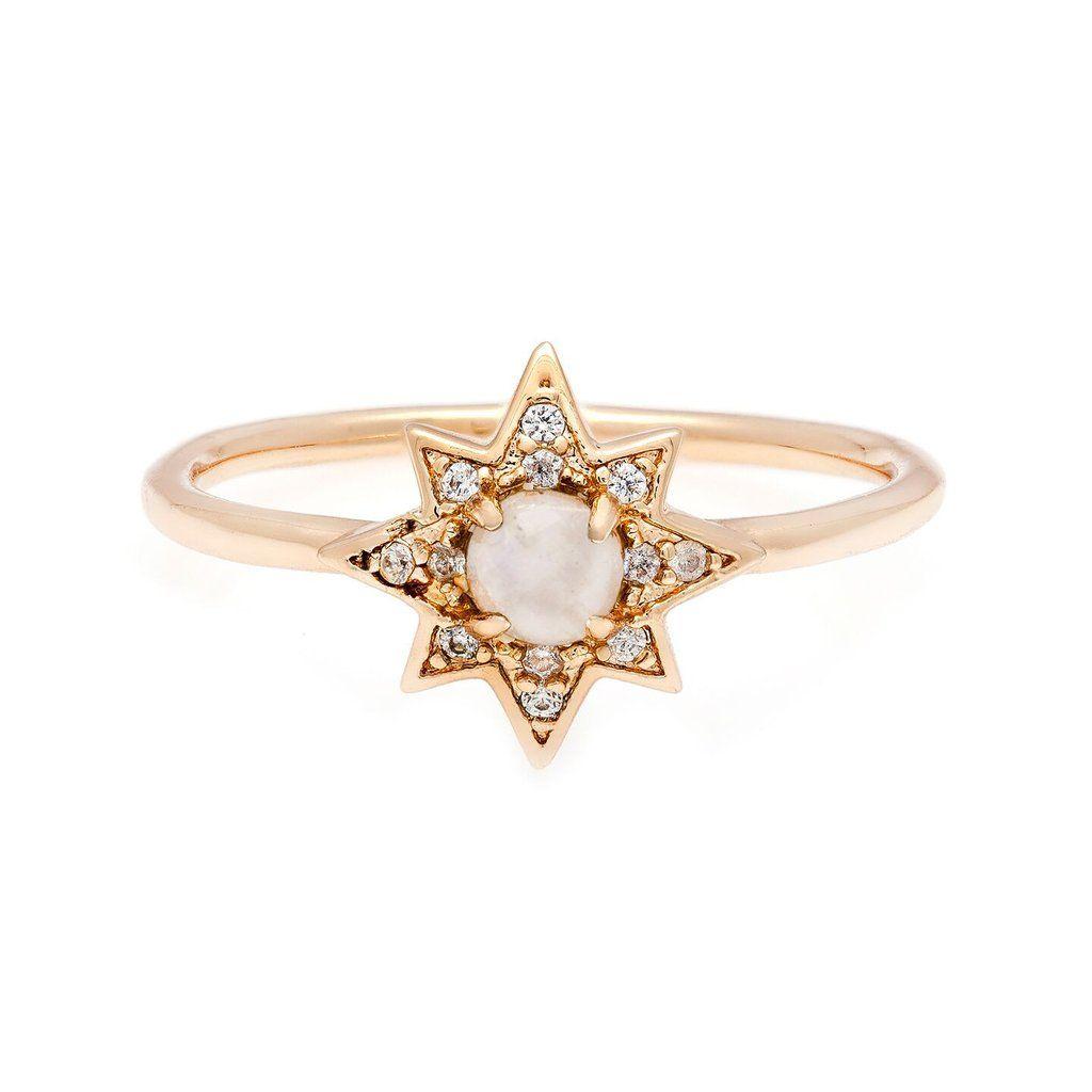 Starburst Stacking Ring Brass Gold Moonstone Stacking Rings
