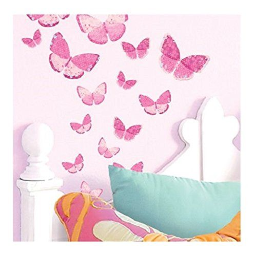 Amazing Main Street Wall Creations Jumbo Stickers Wall Decals   Pink Butterflies (2  Pack) Chartwell Part 17