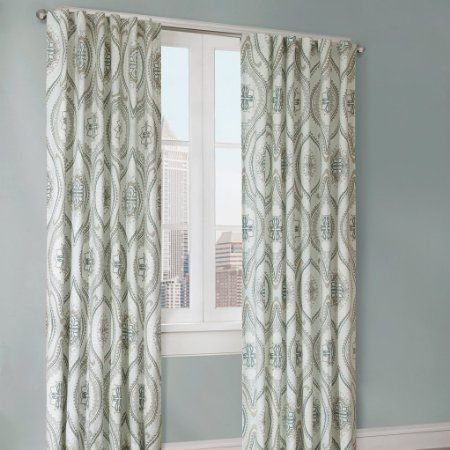 Robot Check Curtain Single Panel Curtains Blue Window Panels