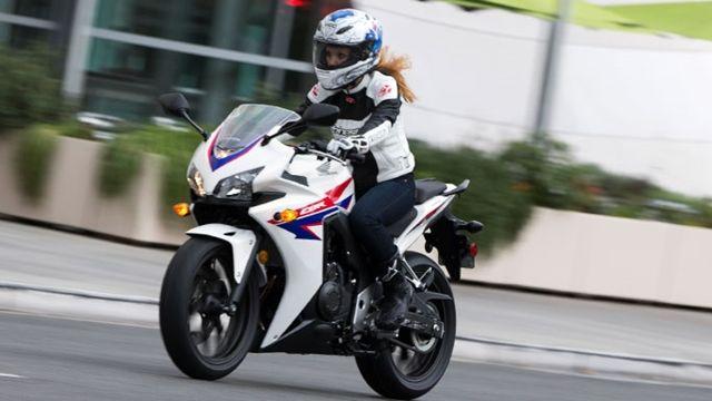 A Lady on her Honda CBR 500 R a very nice bike to ride.