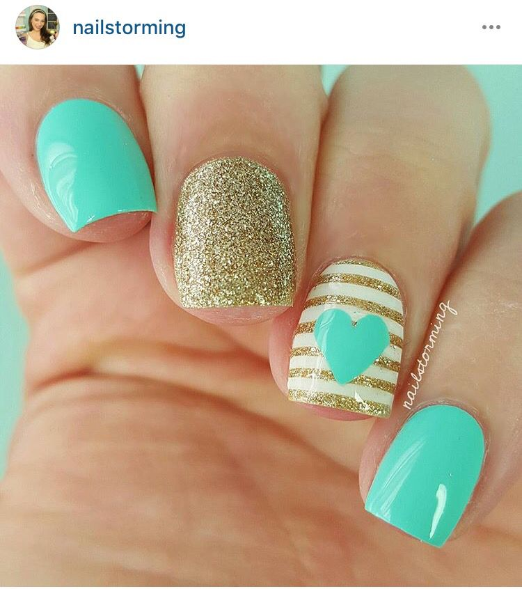 gold turquoise and hearts nails