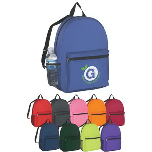 Budget backpack, made of 210 denier polyester with adjustable web shoulder strap and carrying handle. Front zippered pocket and mesh side pocket. Spot clean/air dry.  Rush service at standard pricing.