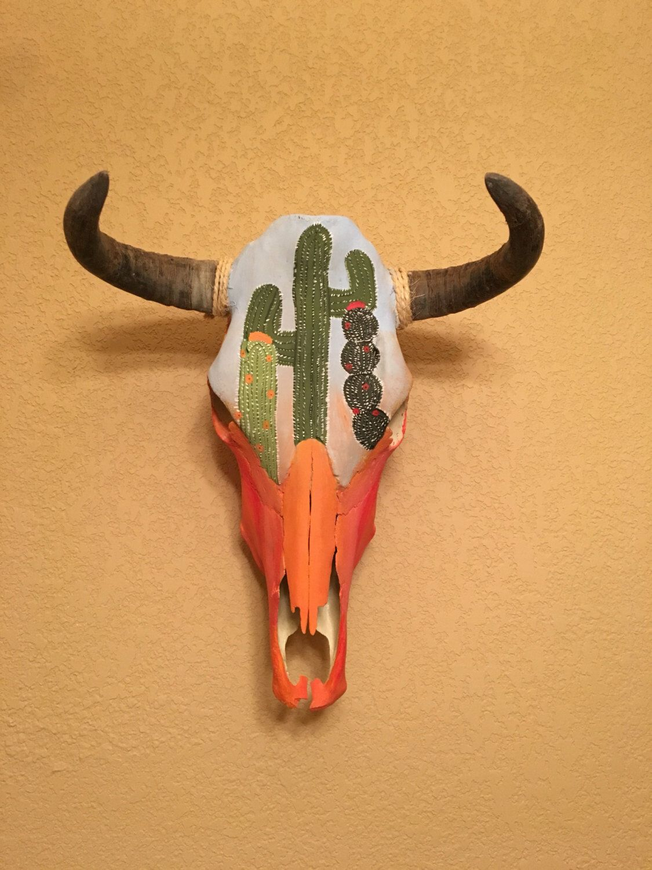 Cactus cow skull! ready to ship!