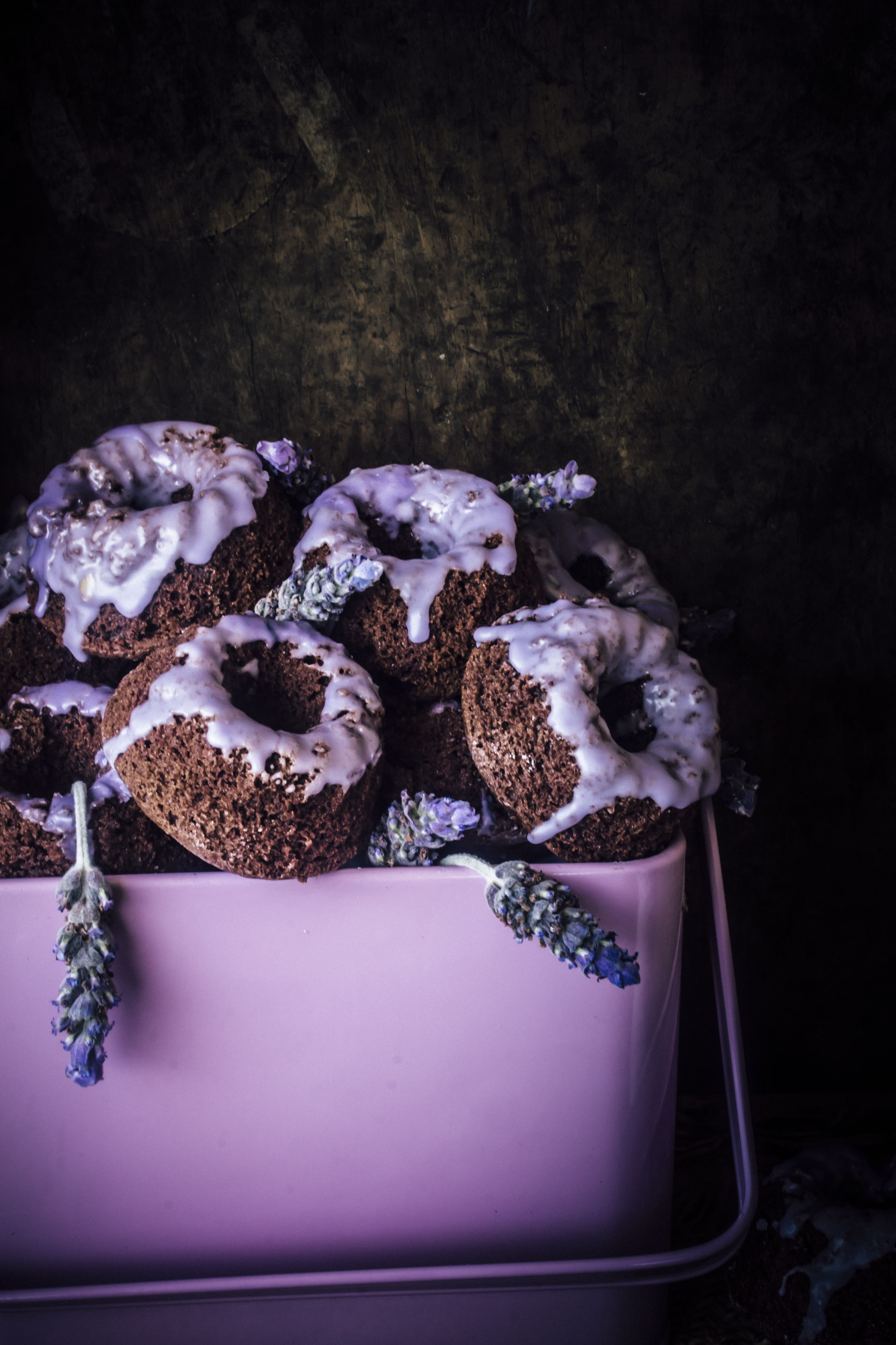 Chocolate Mini Cakes With an Easy lavender Glaze. Simple And Delicious