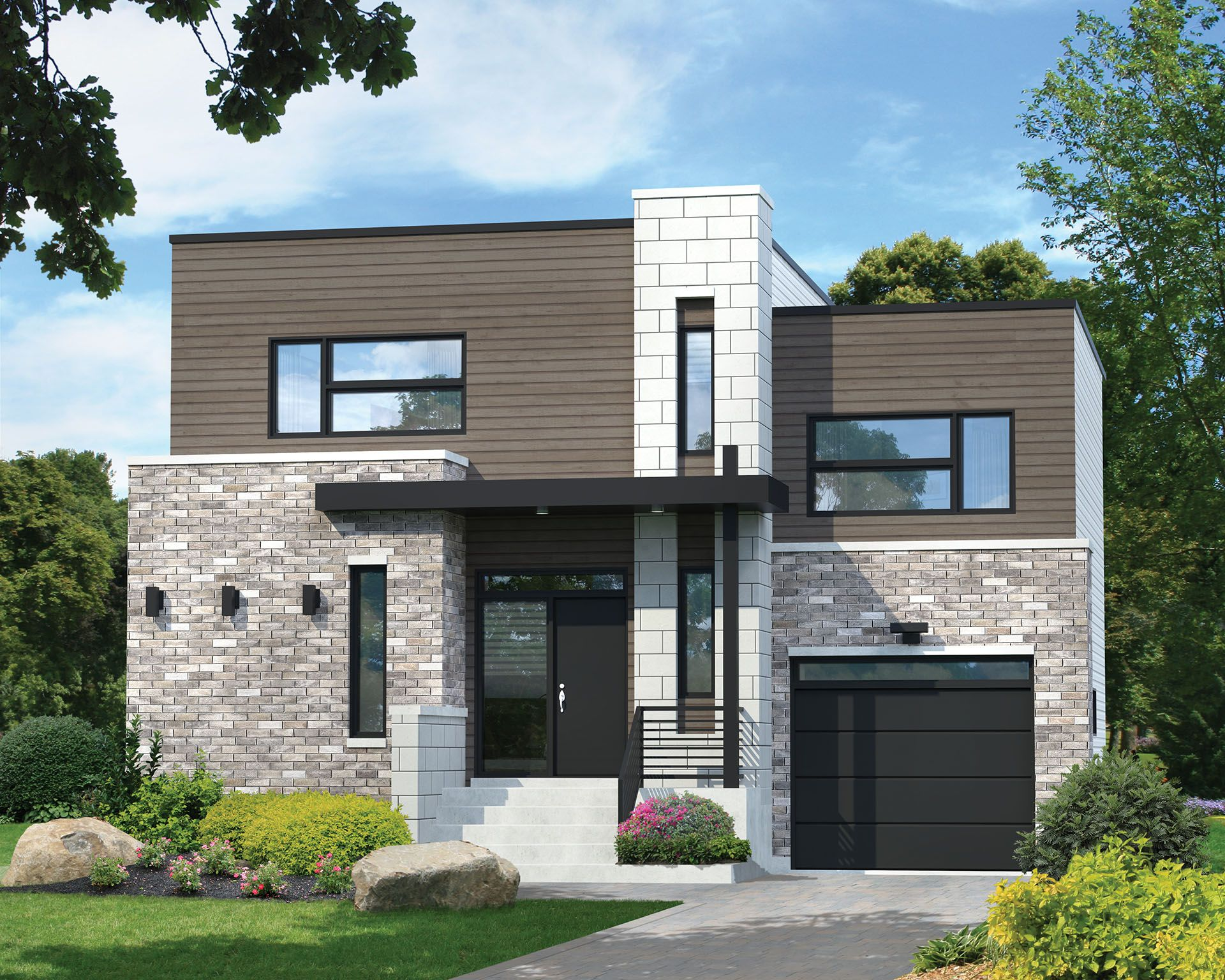 A stylish modern exterior sets off the split level design of this two story contemporary house plan from the garage entry you have