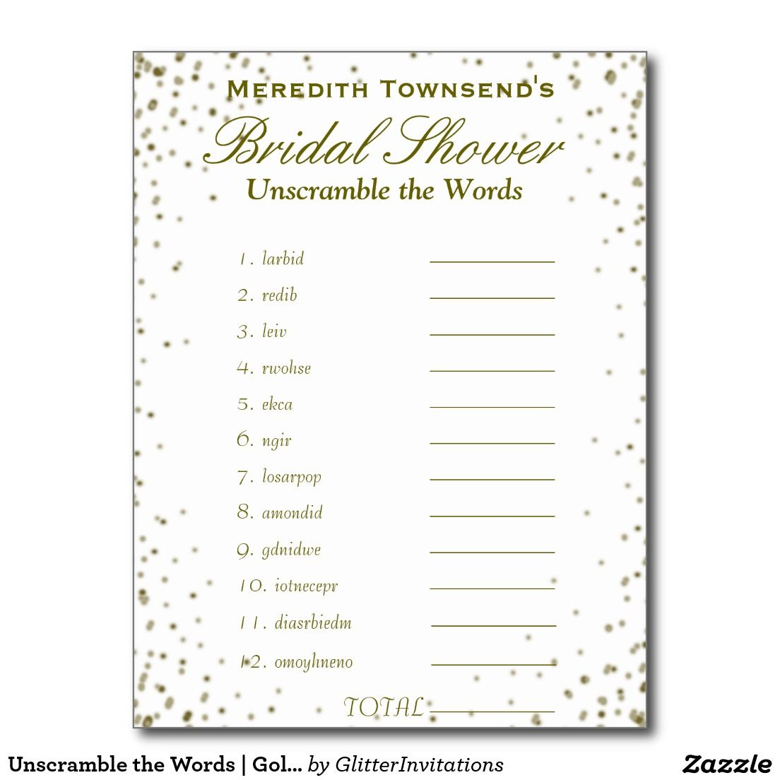 Unscramble the Words | Gold Confetti Invitation Postcard