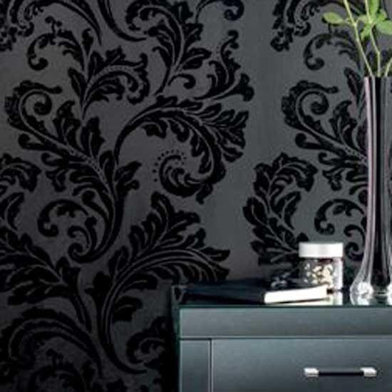 Image From Http Housetohome Media Ipcdigital Co Uk 96 00000ac3d B253 Orh550w550 Black Damas Feature Wall Wallpaper Damask Wallpaper Black And White Wallpaper