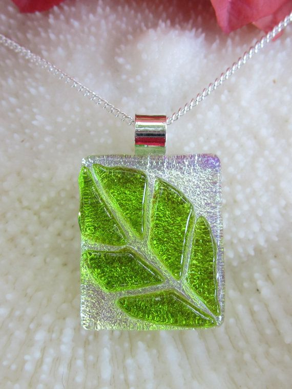Green and silver dichroic fused glass leaf pendant leaf pendant green and silver dichroic fused glass leaf pendant leaf pendant leaves and glass mozeypictures Choice Image