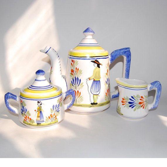French Ceramic Sugar Bowl 1950s Folk Pottery Country Cottage: HB Henriot Quimper Tea Set Vintage French Folk Art Faience