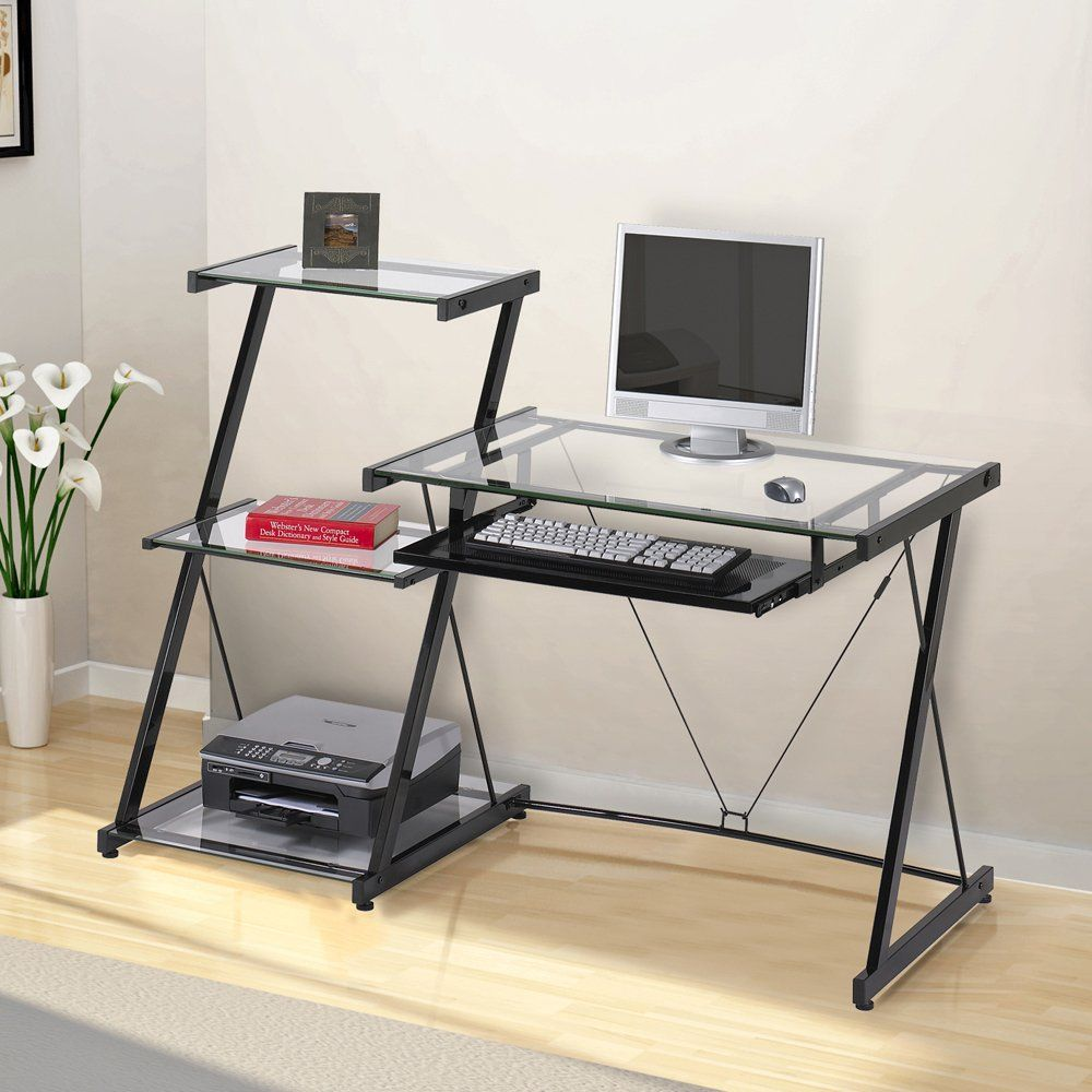 Contemporary Glass Computer Desk With Bookcase Glass Computer