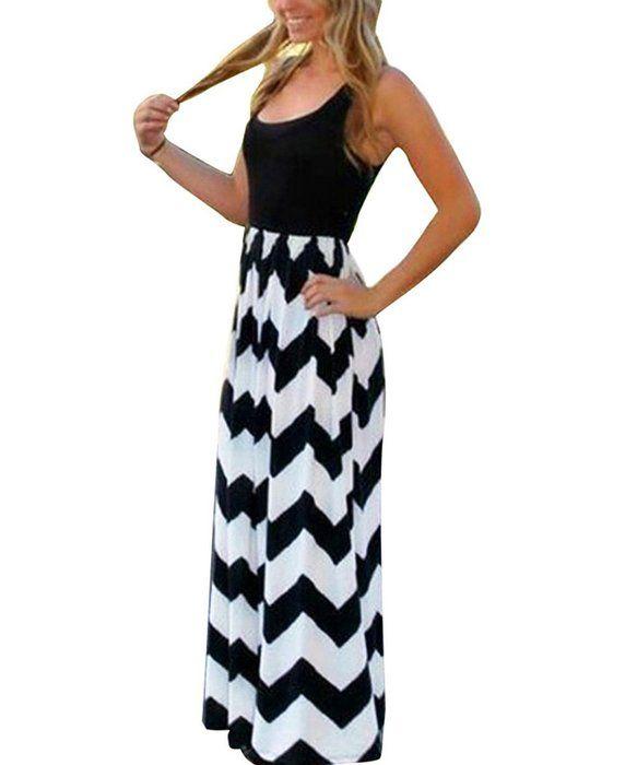 Yidarton Sommerkleid Damen Lang Chiffon High Waist Striped ...