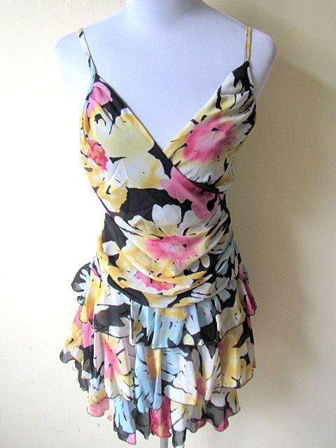 Summer Sale: floral layered dress (small) by VintageHomage on Etsy