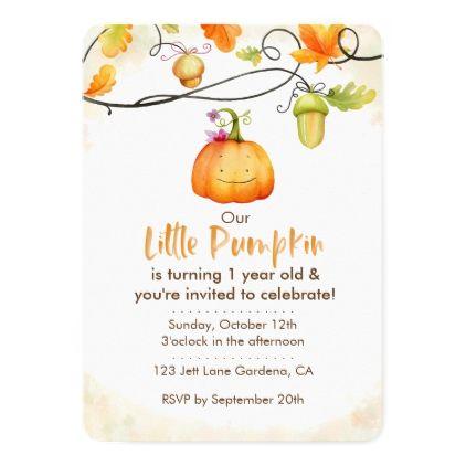 Our Little Pumpkin Invitation in 2018 birthday cards Pinterest