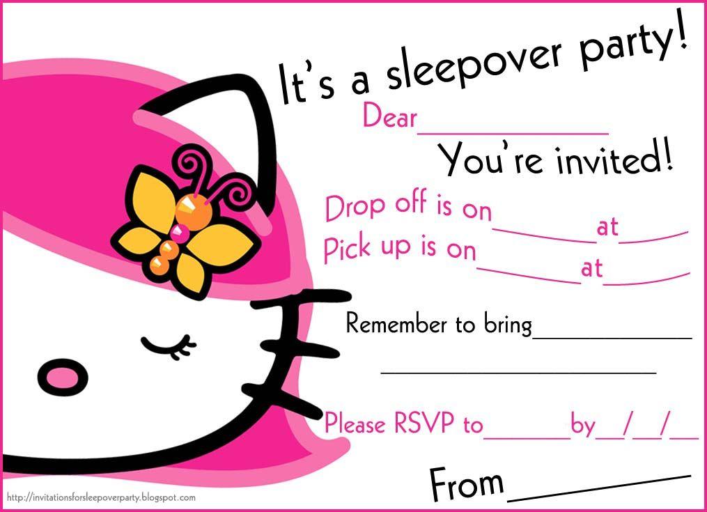 Free Printable Slumber Party Invitations sleepover invitation card ...